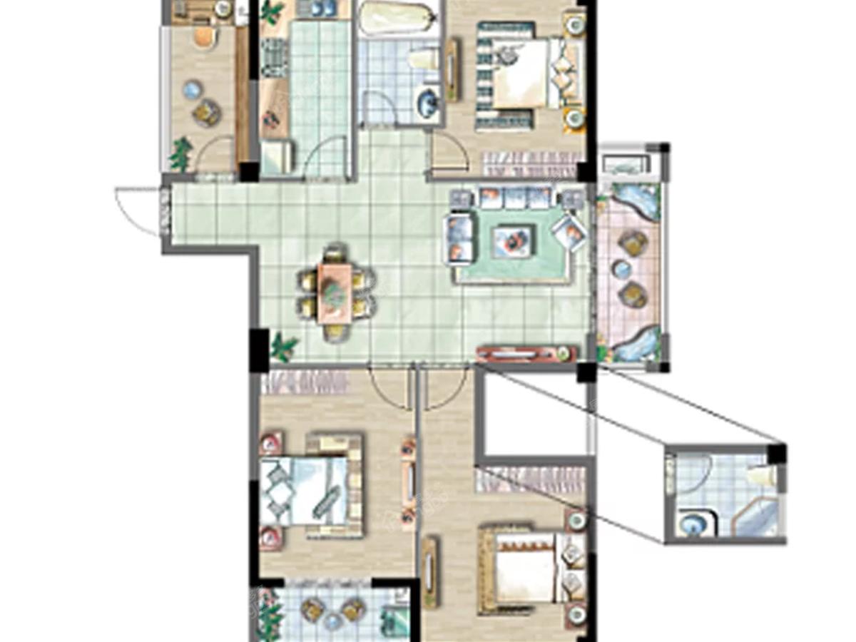 龙漈·花语湖3室2厅2卫户型图
