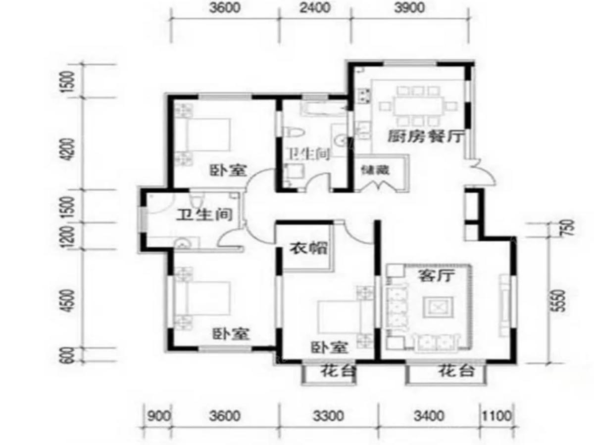 鞍钢田园3室2厅2卫户型图
