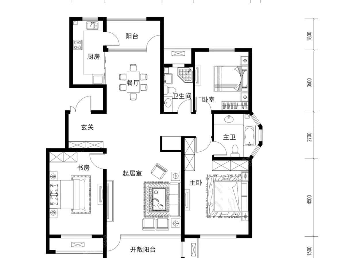 新东方天地3室2厅2卫户型图