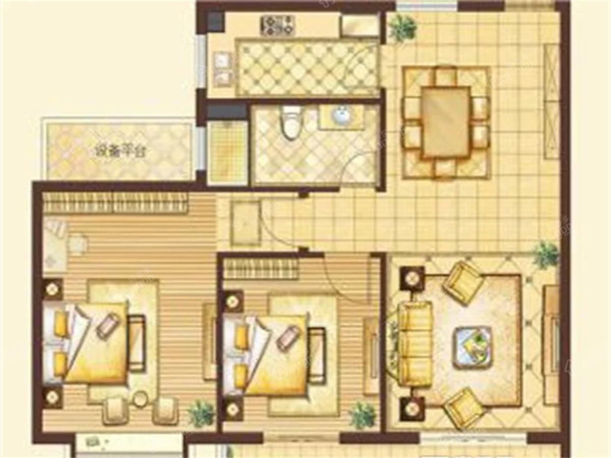 欧洲皇家花园小区2室2厅1卫户型图