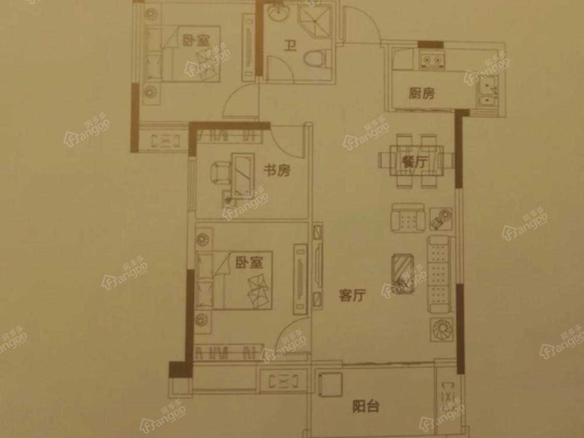 优山美域3室2厅1卫户型图