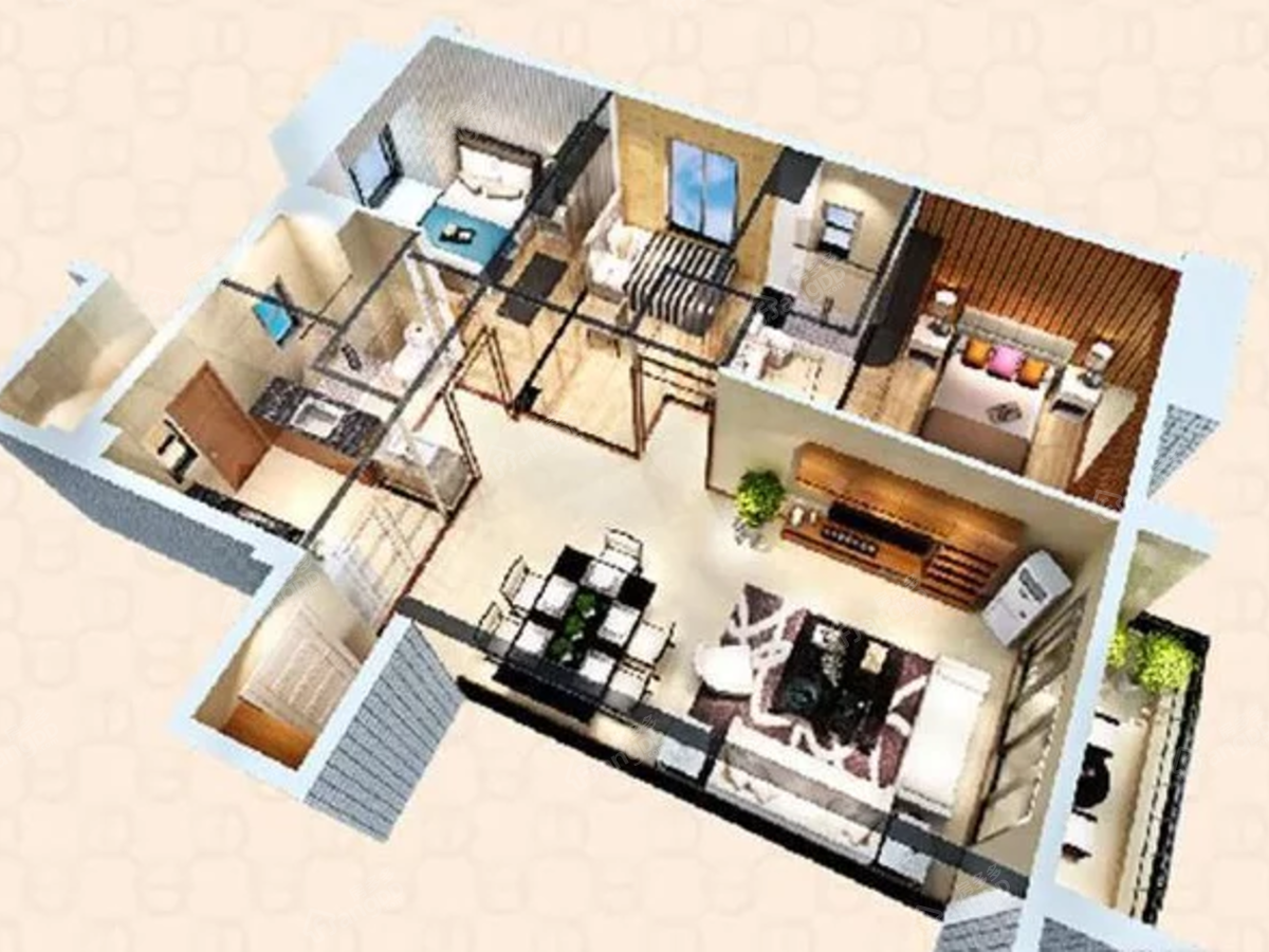 福安碧桂园3室2厅2卫户型图