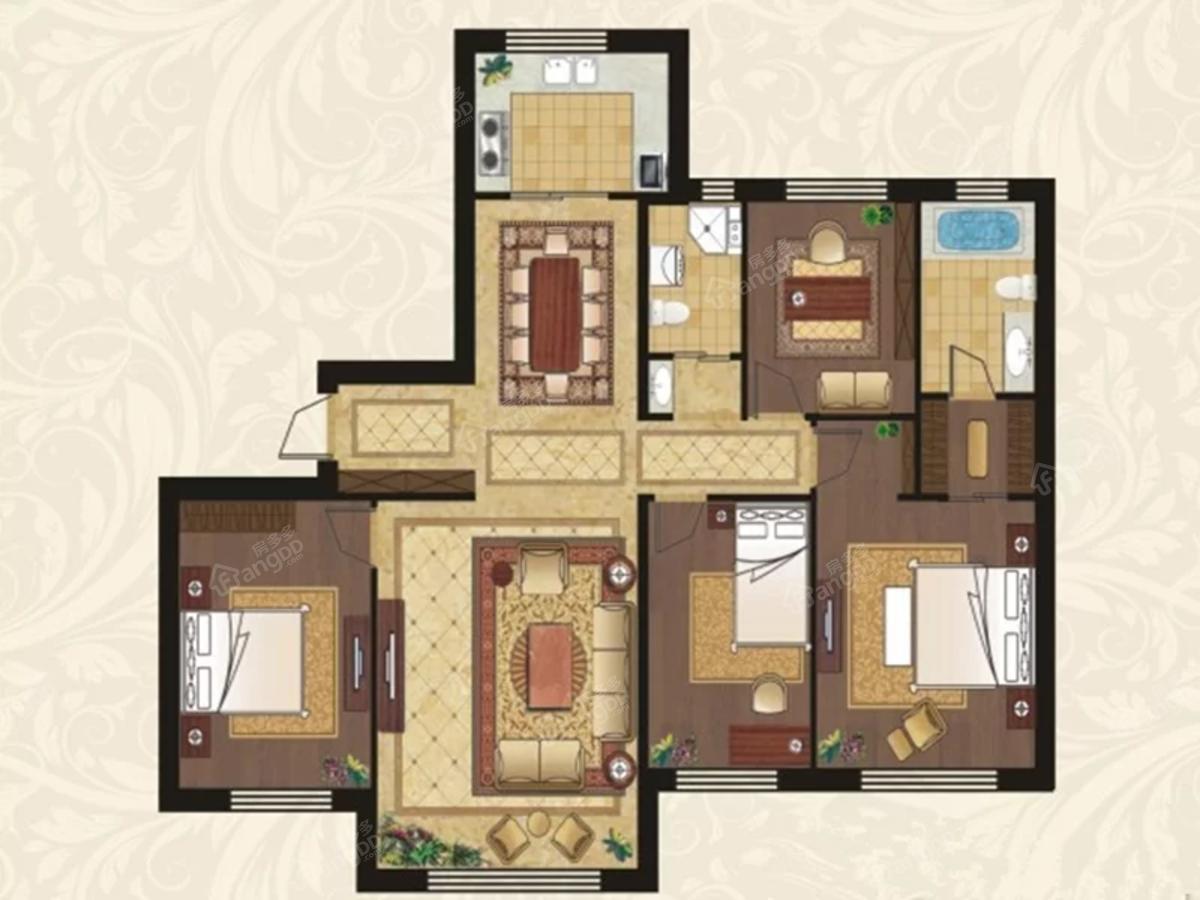 中海·雲鼎大观4室2厅2卫户型图