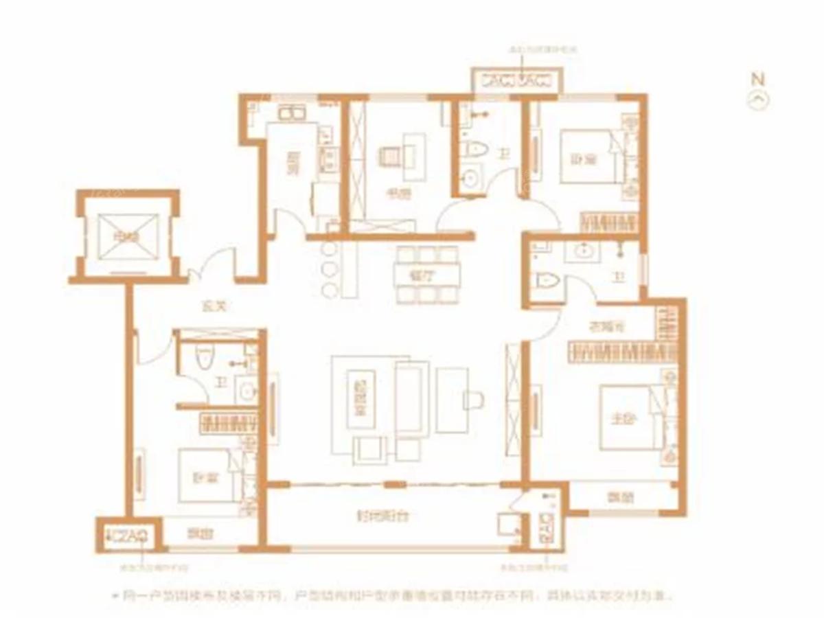 鹤壁建业世和府4室2厅3卫户型图