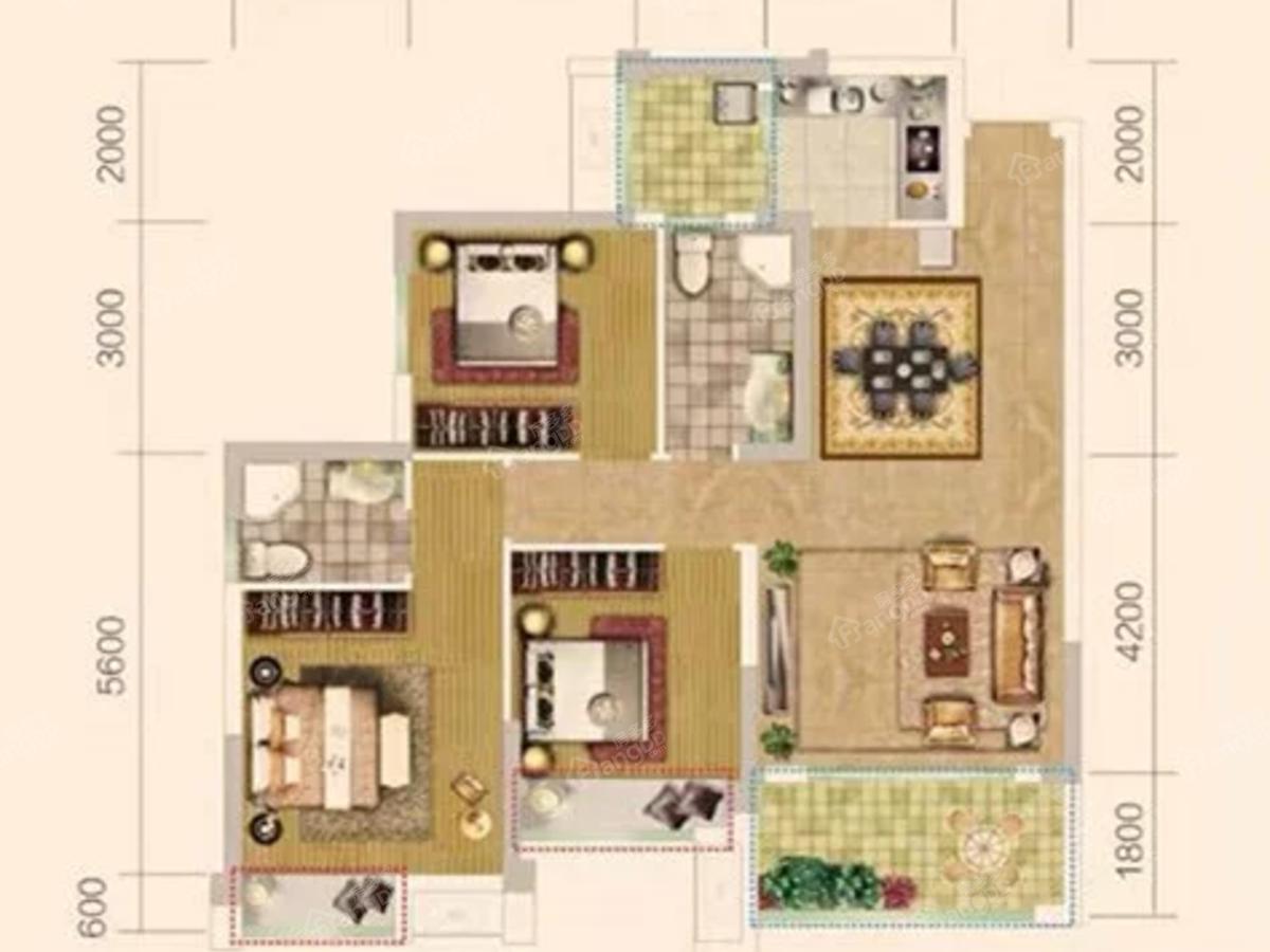 北宸阳光3室2厅2卫户型图