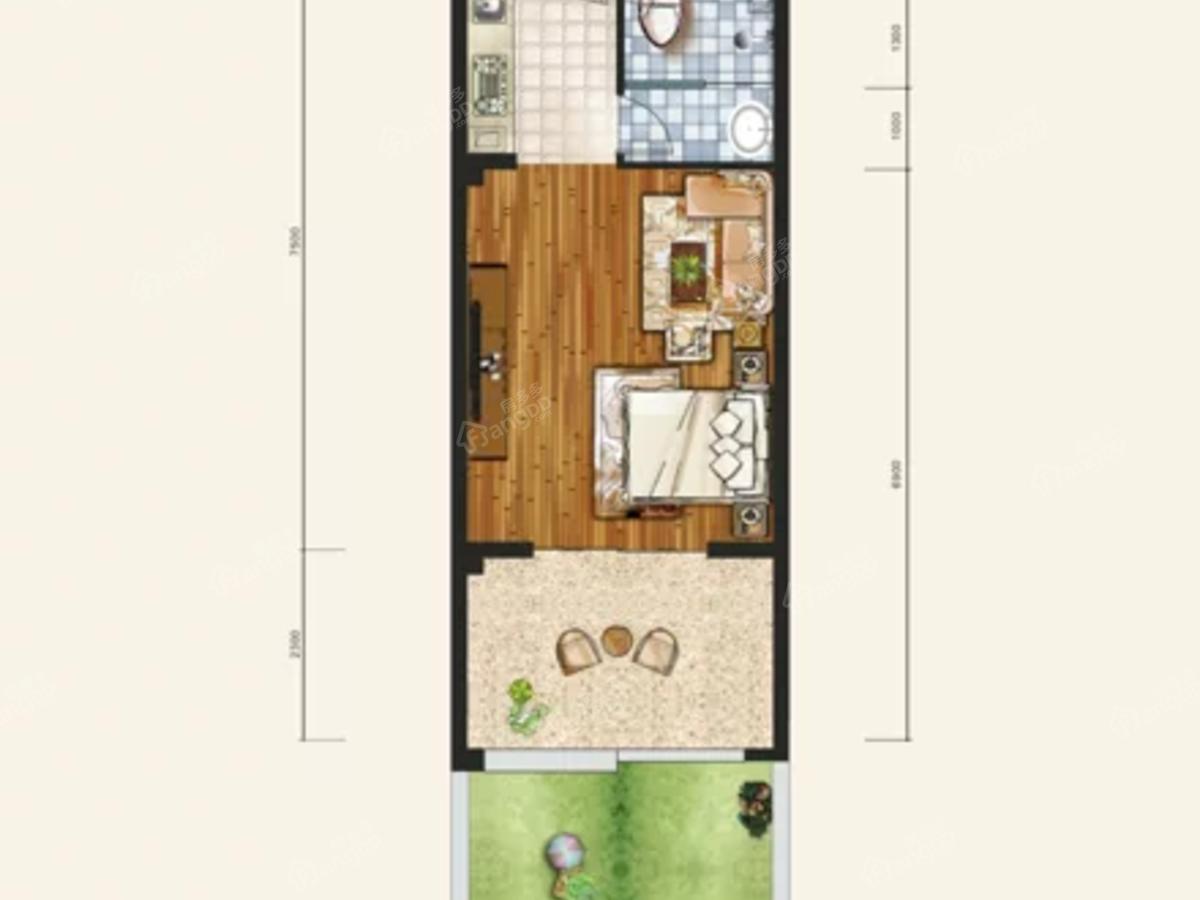 鱼米阳光康养社区1室1厅1卫户型图
