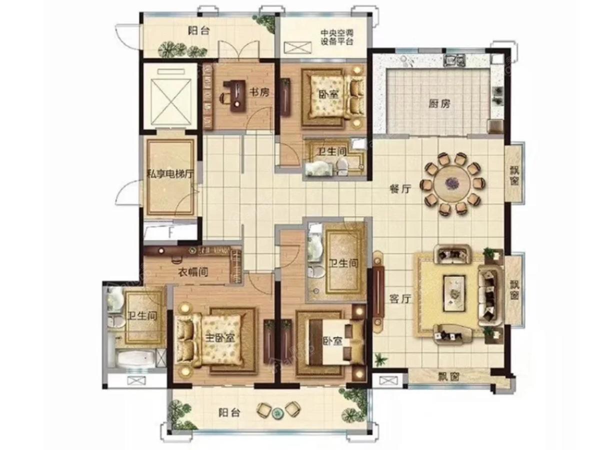 东正·颐和府-壹号院4室2厅3卫户型图
