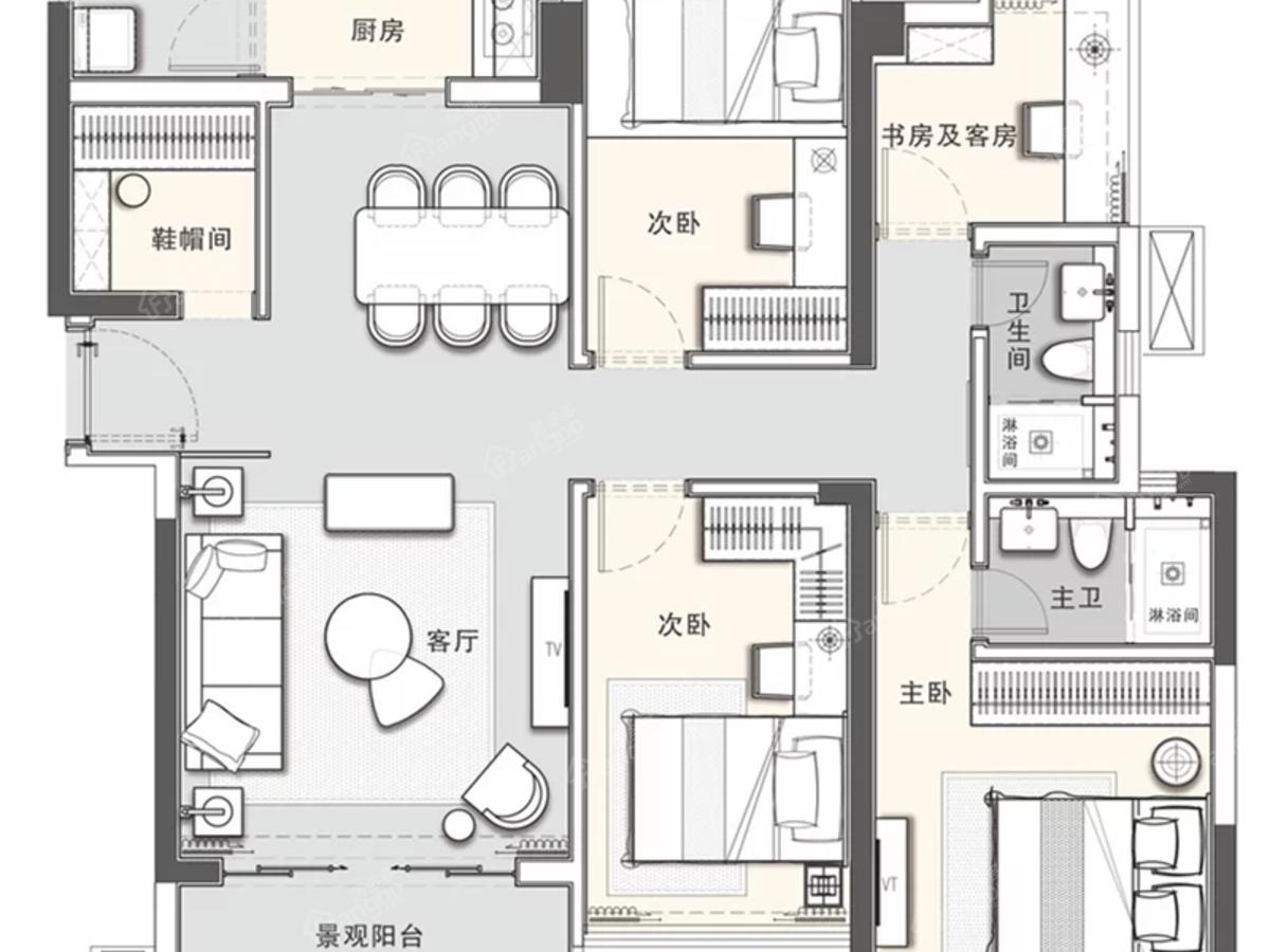广雅·金榜华庭5室2厅2卫户型图