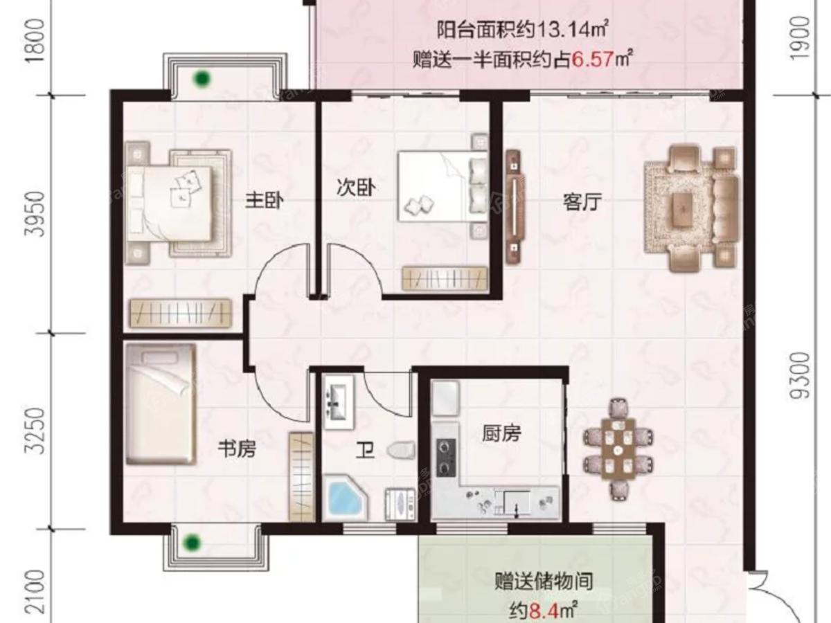 贵安新区第一城4室2厅1卫户型图