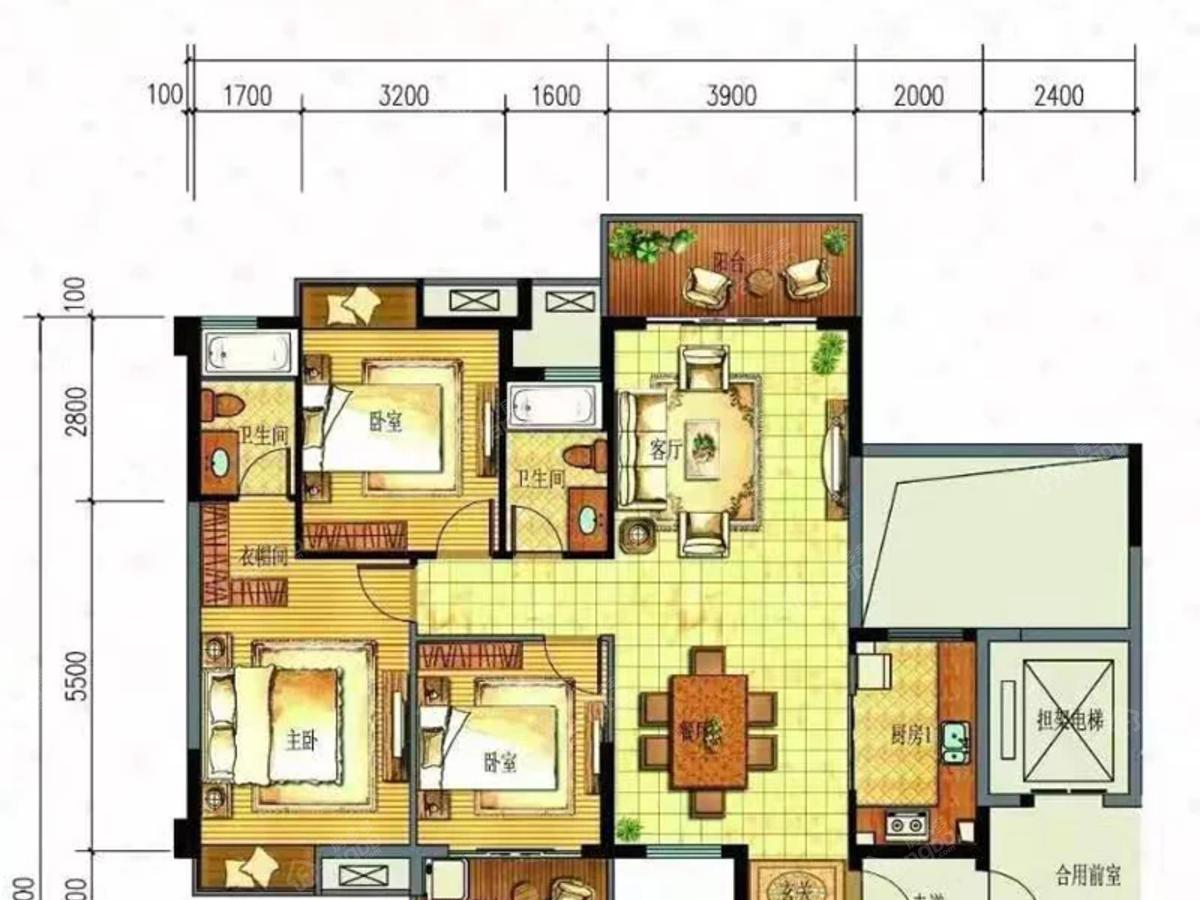 丽江明珠3室2厅2卫户型图