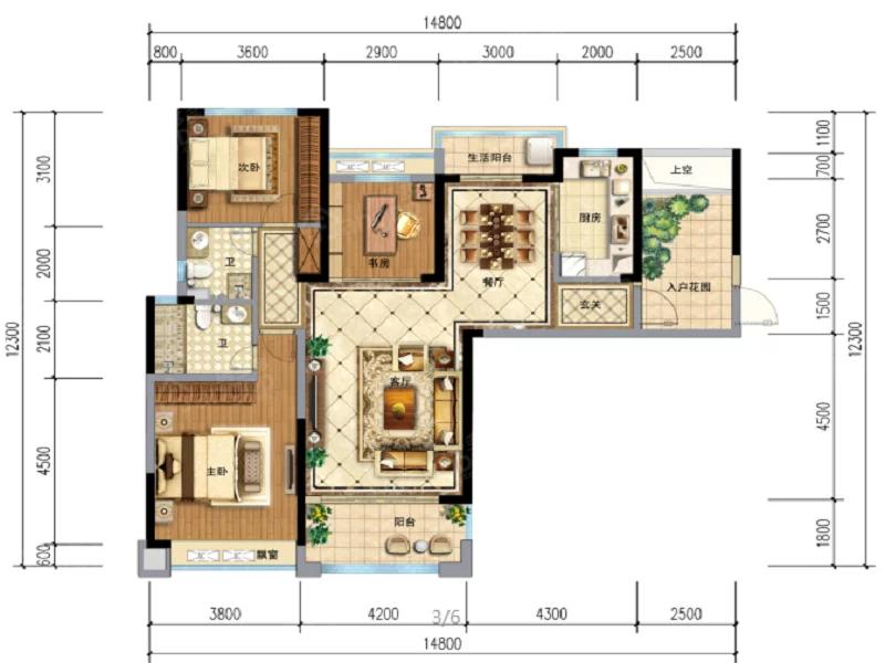 锦绣首府3室2厅2卫户型图