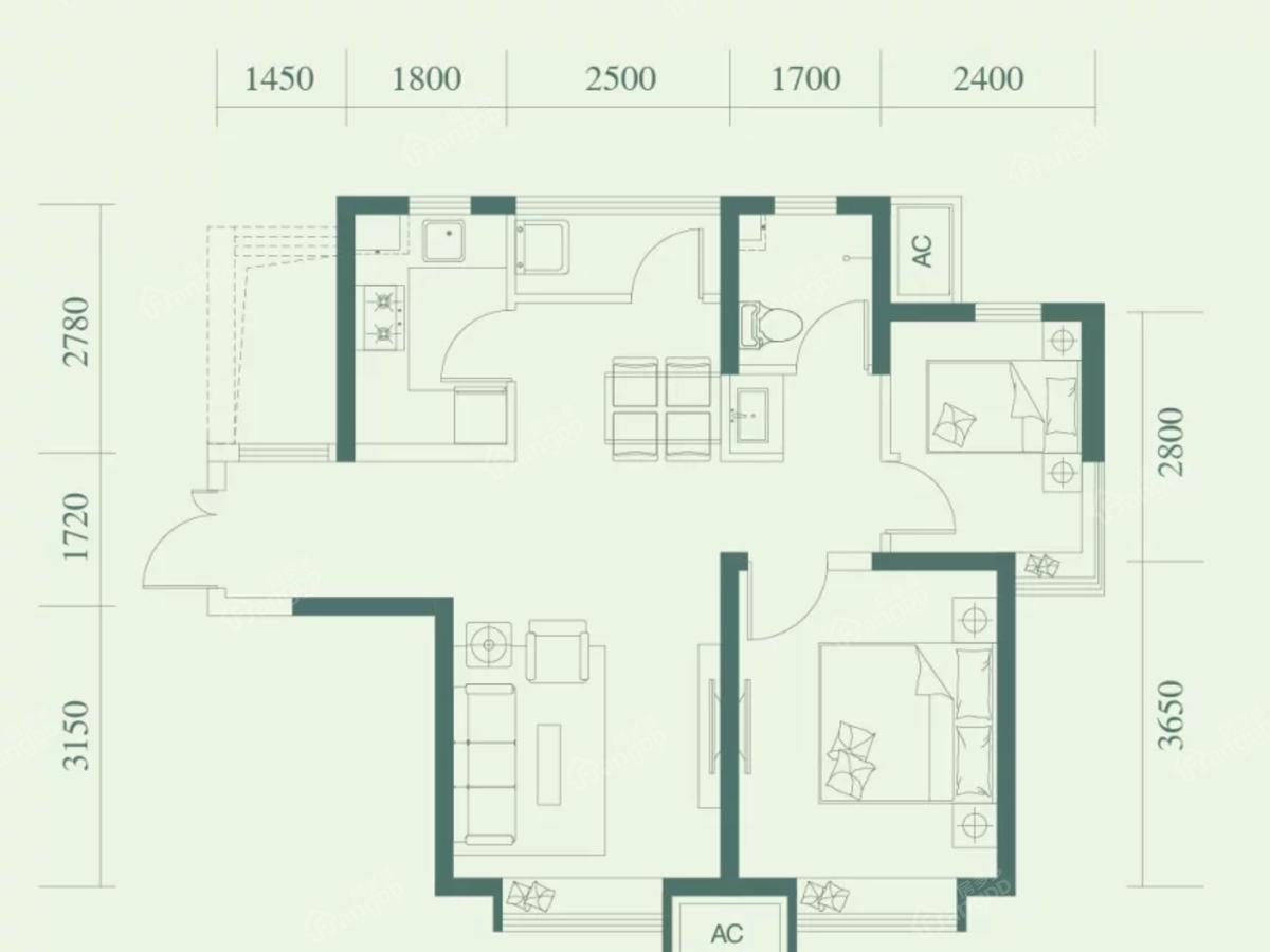 金融街融汇 2室2厅1卫