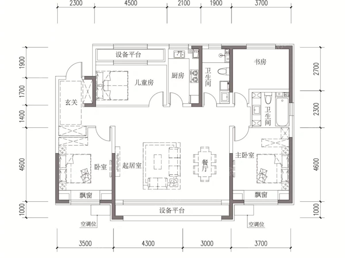 汇银东樾4室2厅2卫户型图