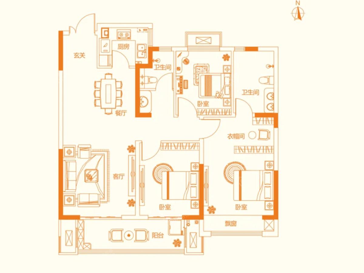正商书香铭筑3室2厅2卫户型图