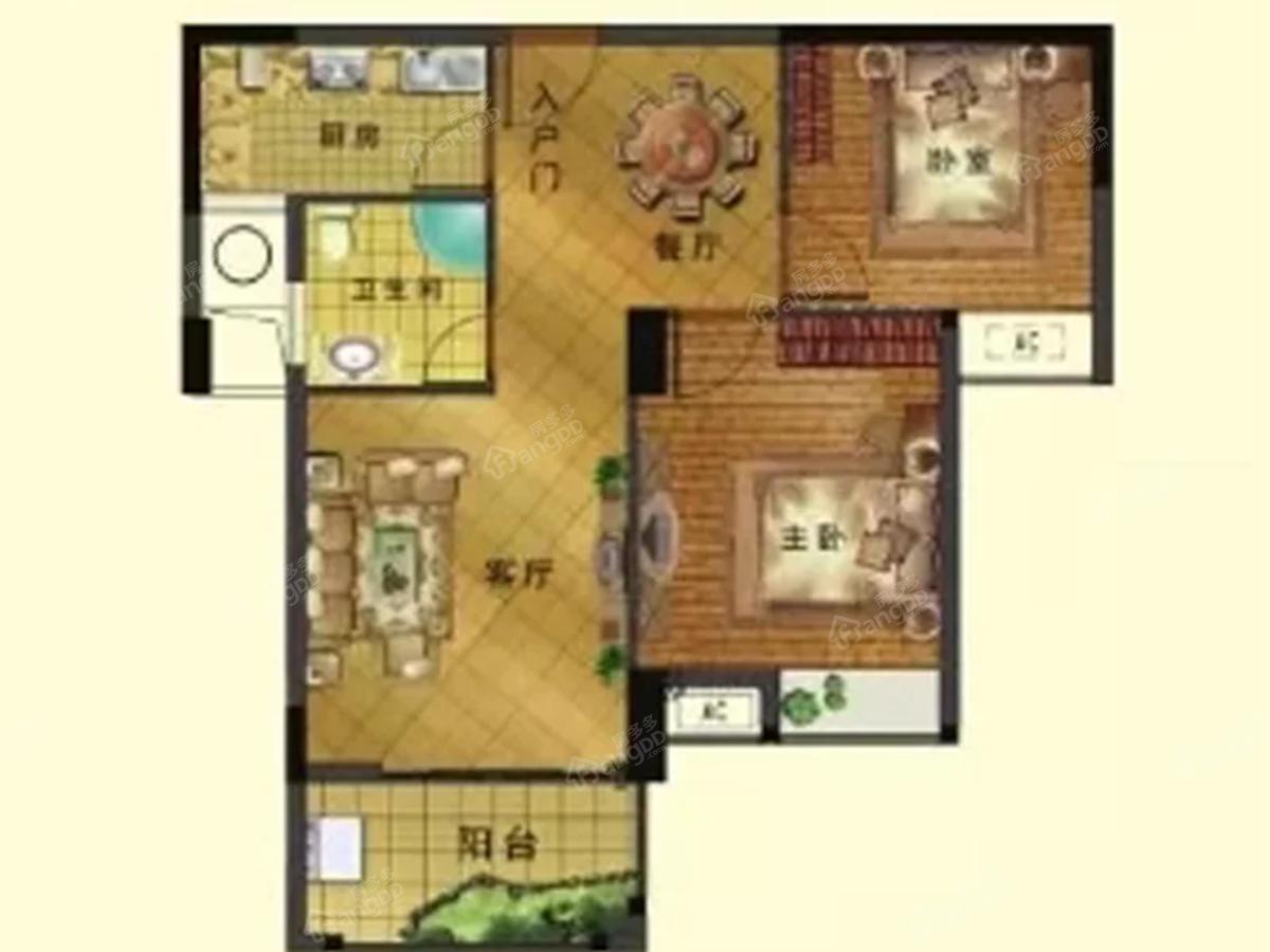 西江悦2室2厅1卫户型图