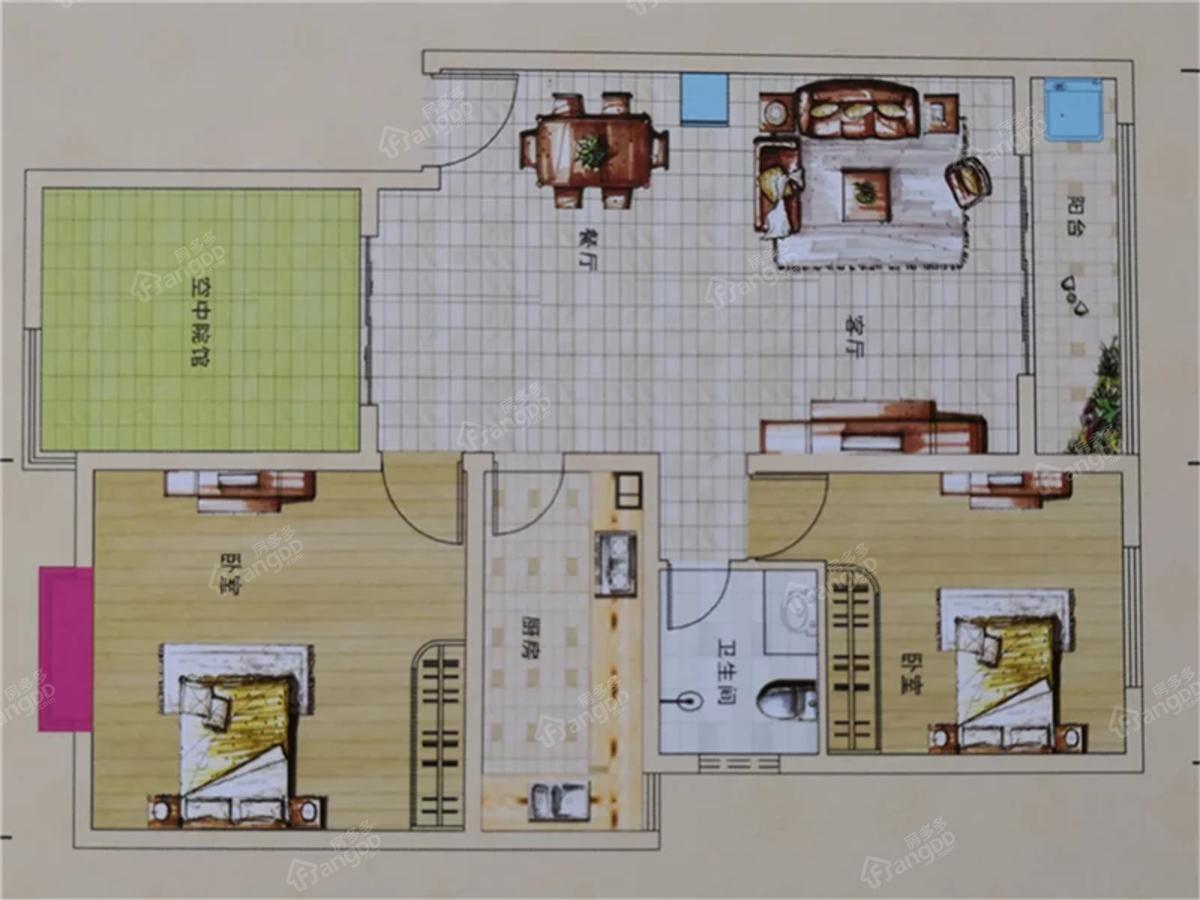 龙熙臻品2室2厅1卫户型图
