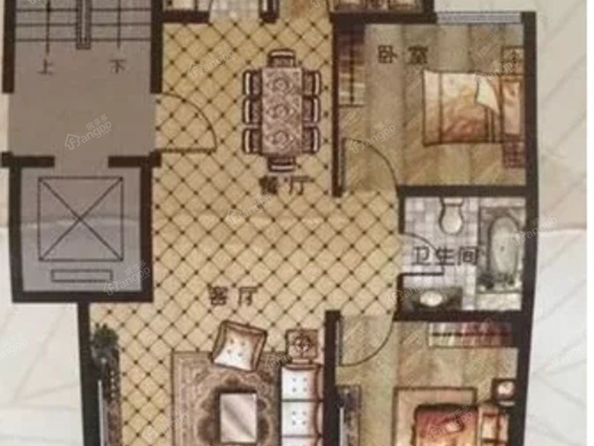 香醍漫步3室2厅1卫户型图