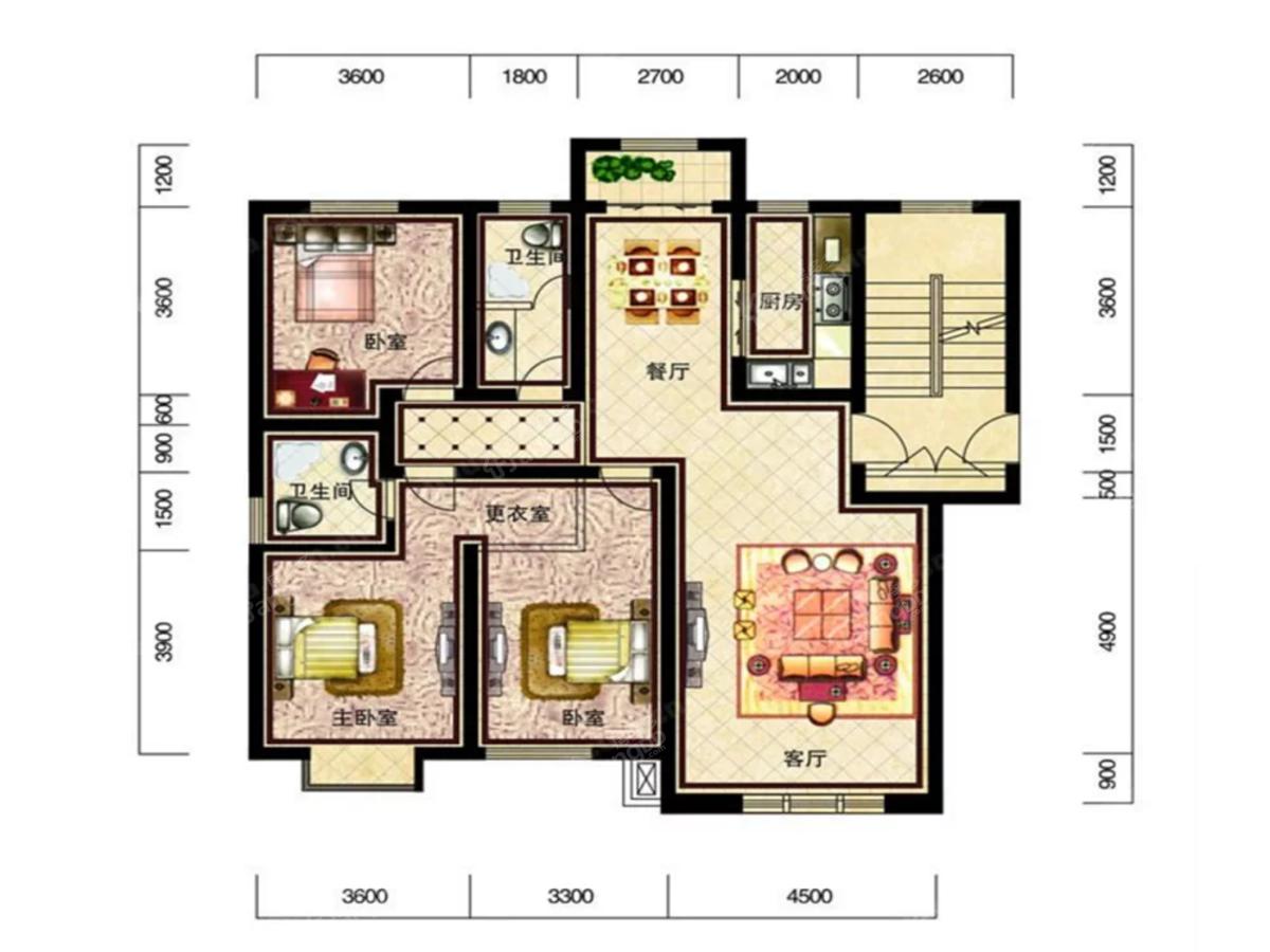 恒威滨江国际3室2厅2卫户型图