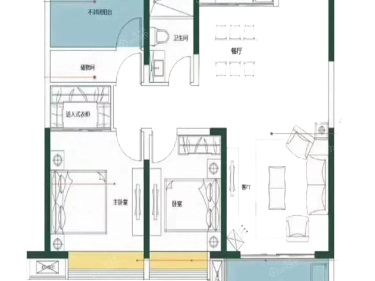 建华观园2室2厅1卫户型图