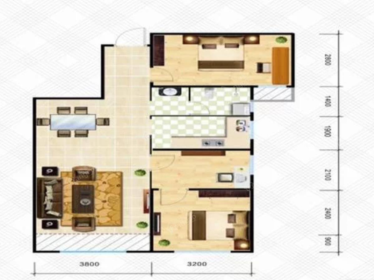 中天星河湾3室2厅1卫户型图