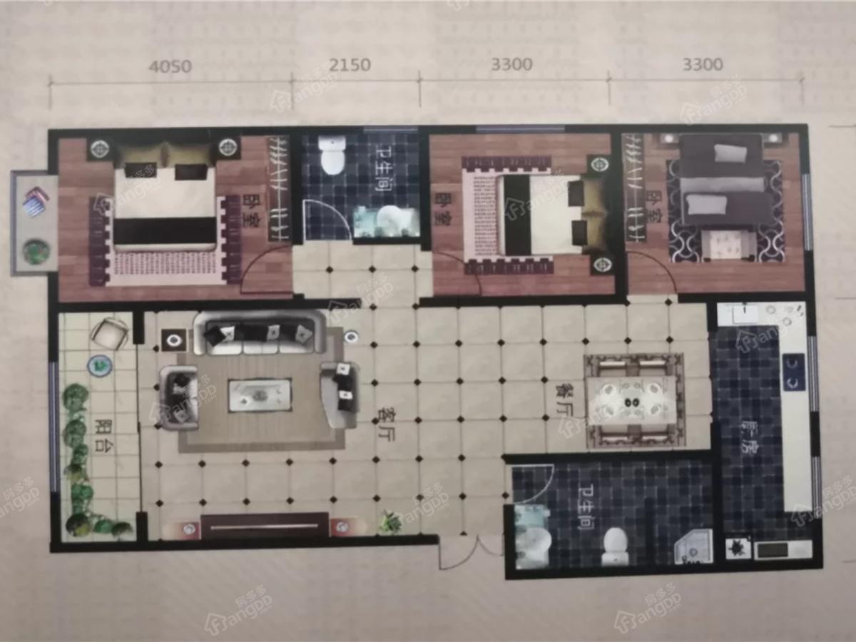 华府世家一期3室2厅2卫户型图