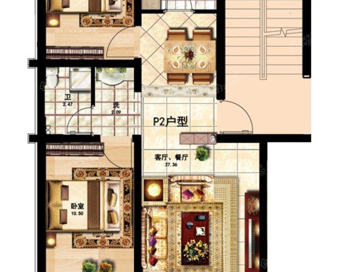 大众·山水名园2室2厅1卫户型图