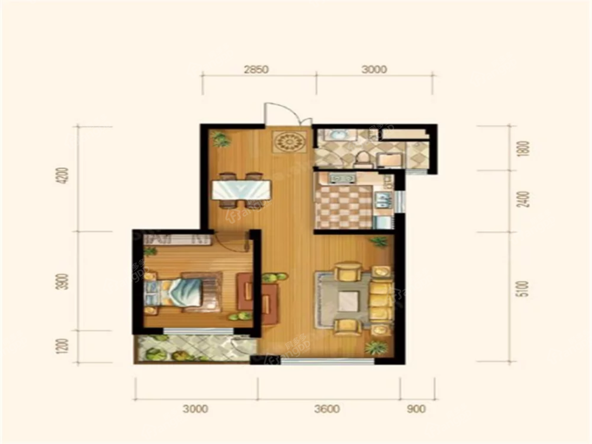 博泰花园1室1厅1卫户型图