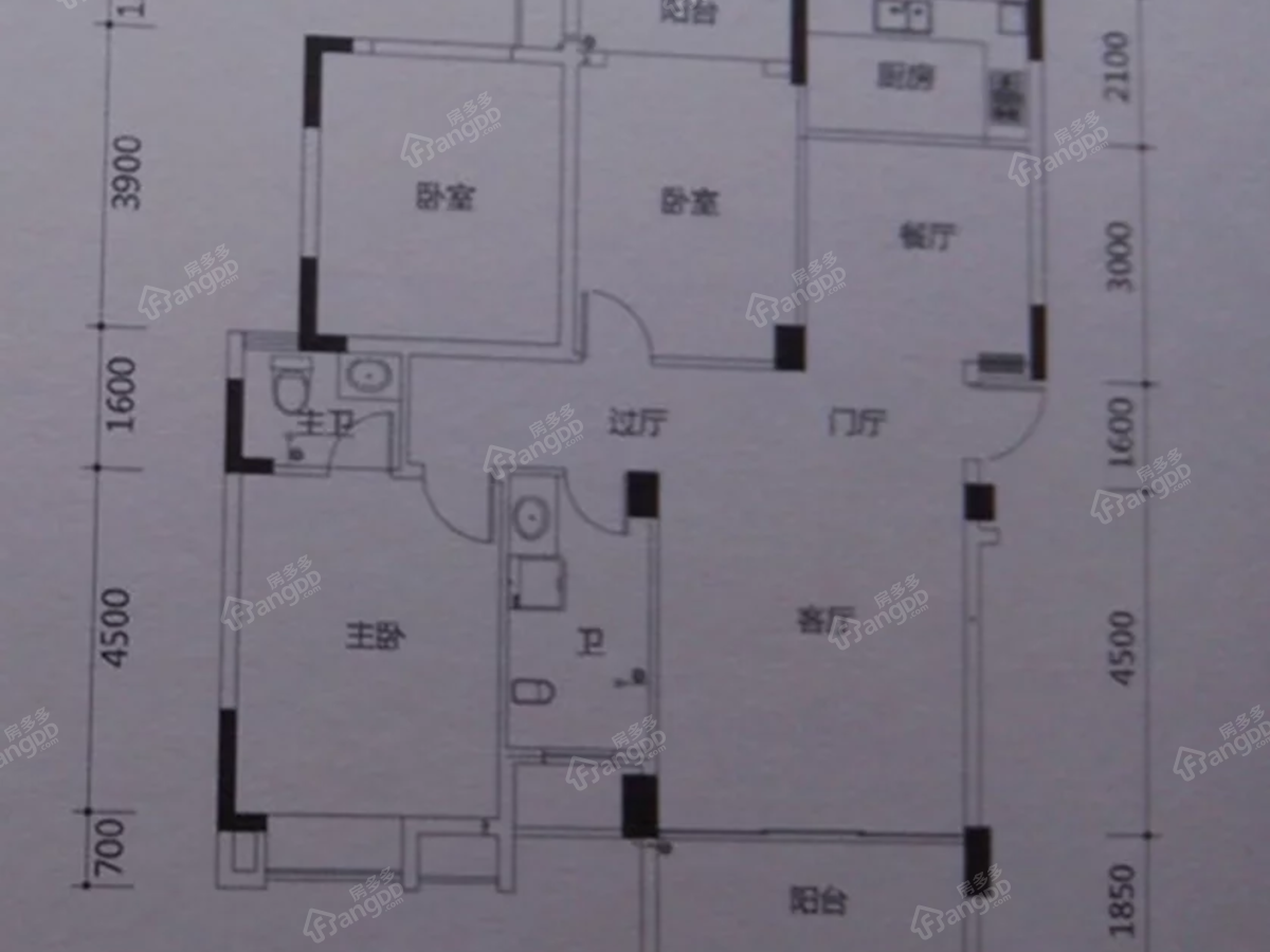 学府湖畔3室2厅2卫户型图