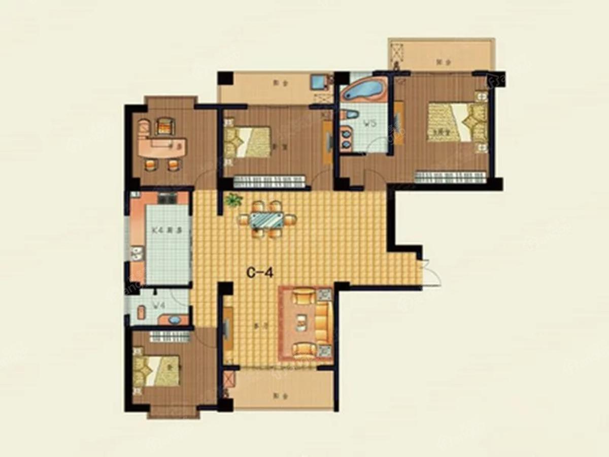 芒市盛世佳园3室2厅2卫户型图