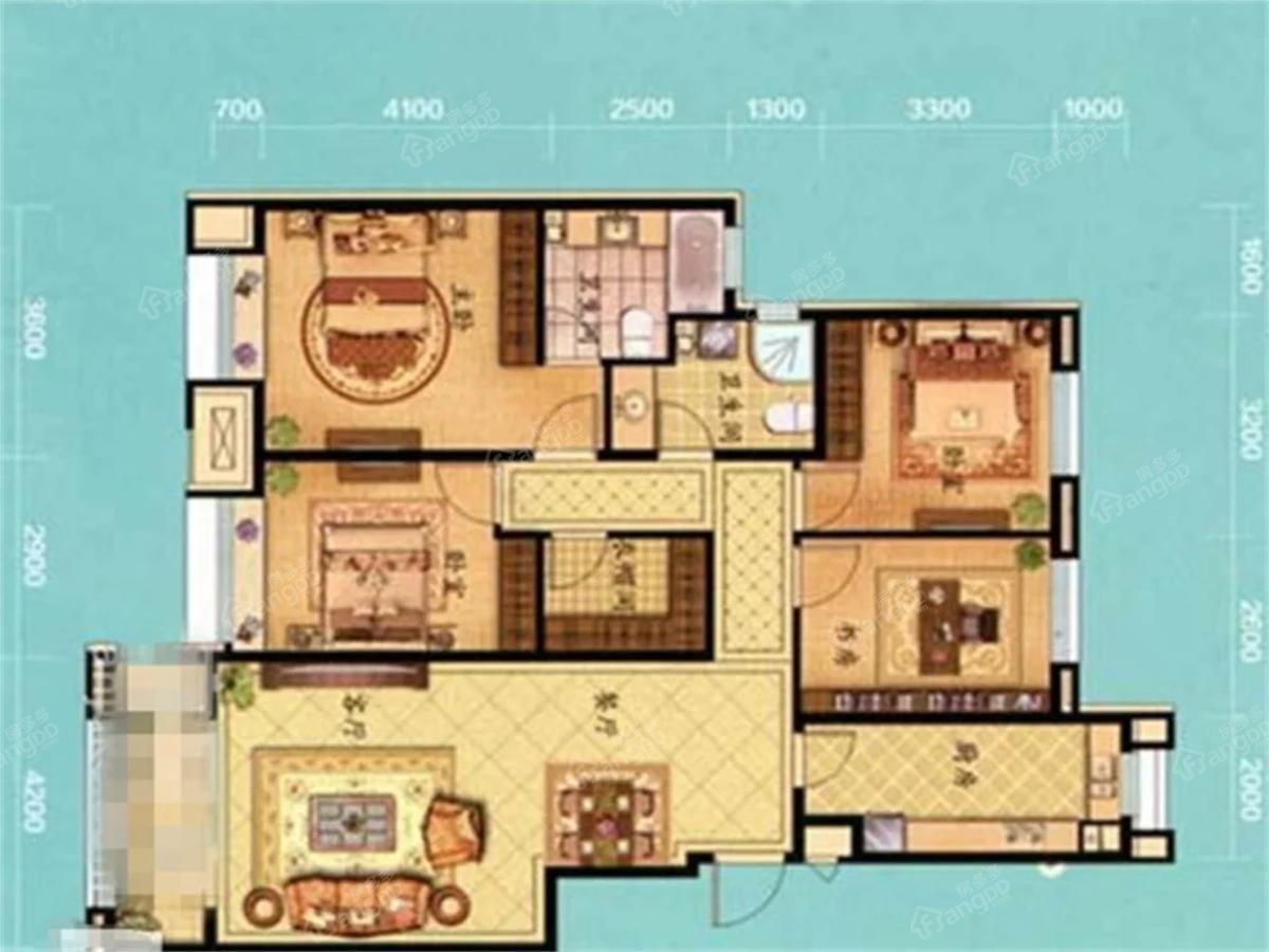 花蔓溪谷3室2厅2卫户型图
