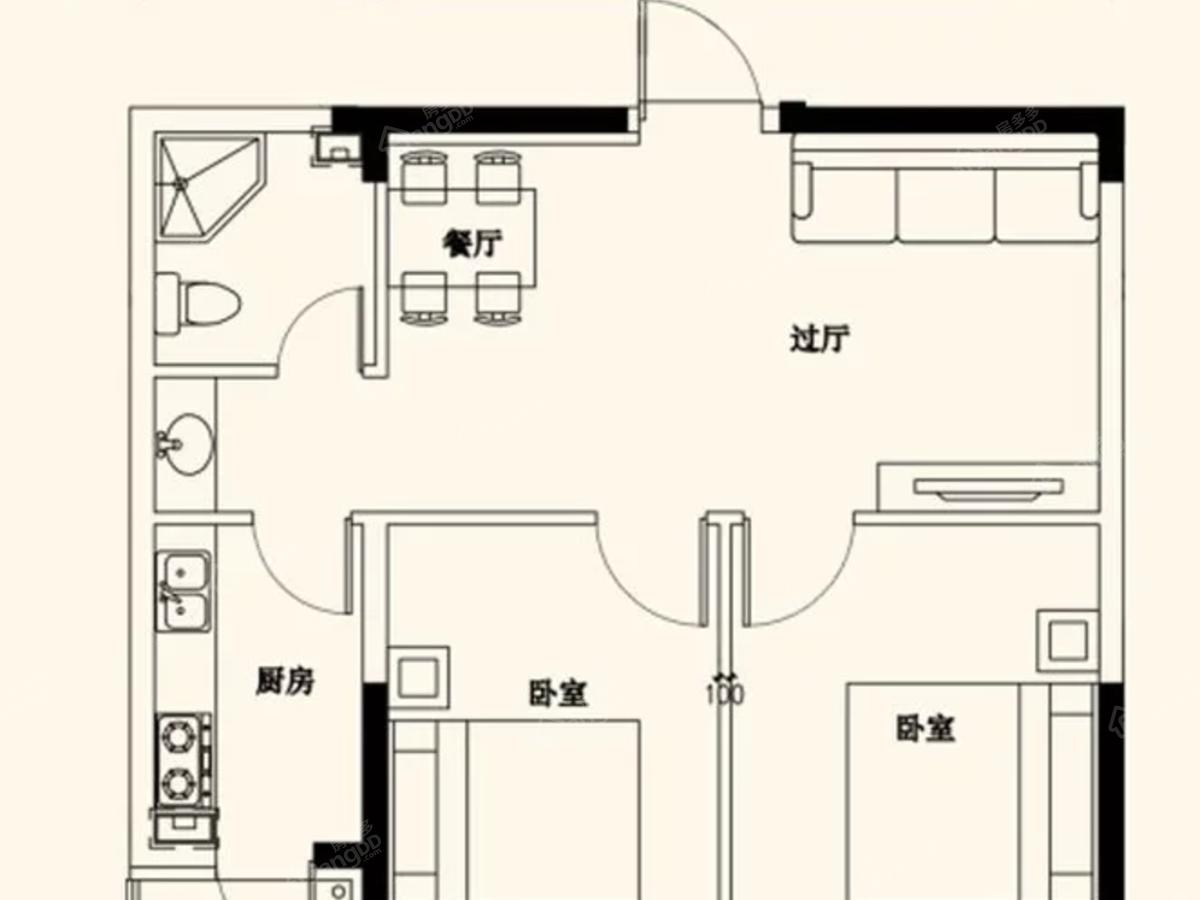 泓宇富雅豪庭2室2厅1卫户型图