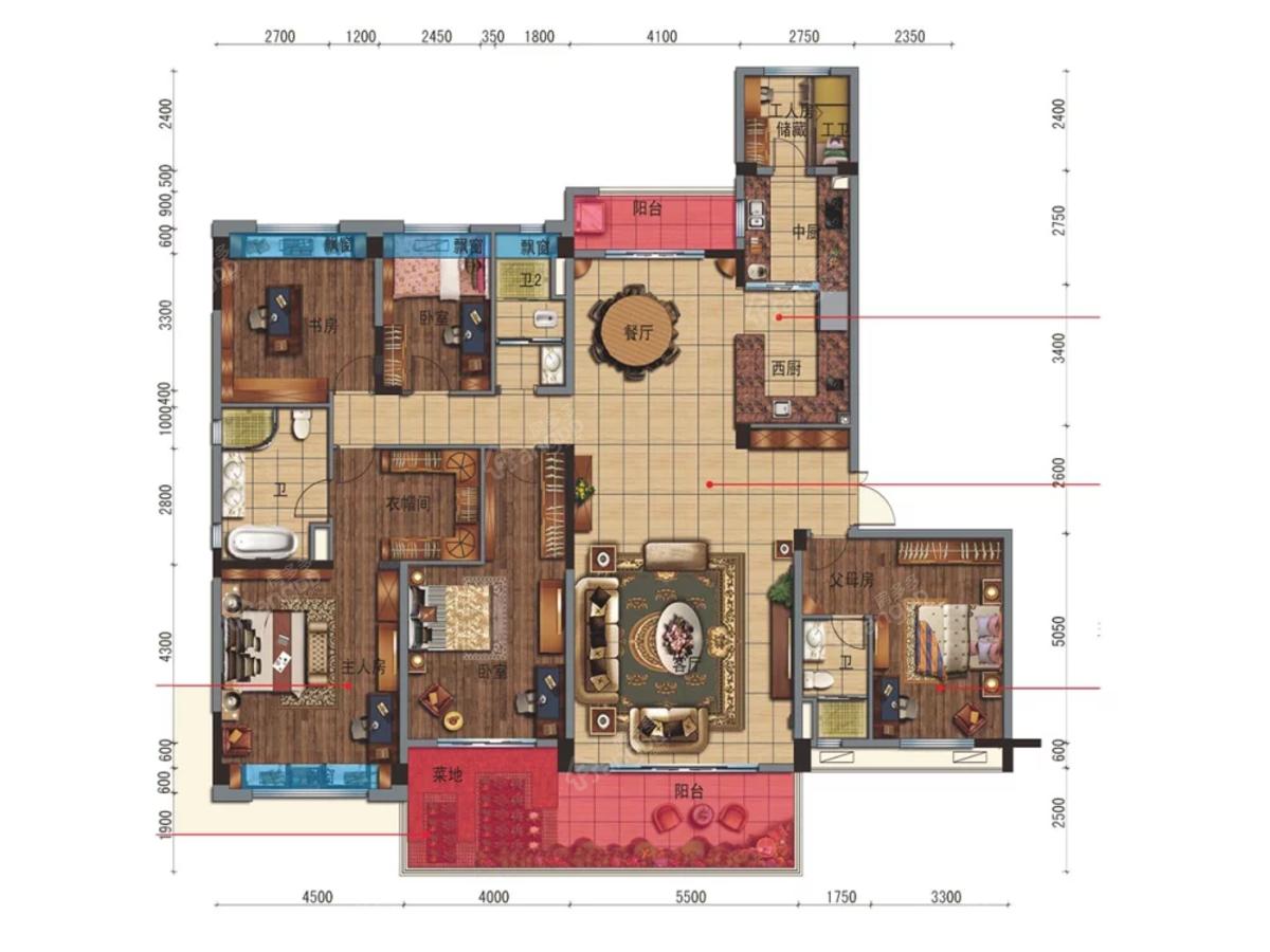 碧桂园宝庆府5室2厅3卫户型图