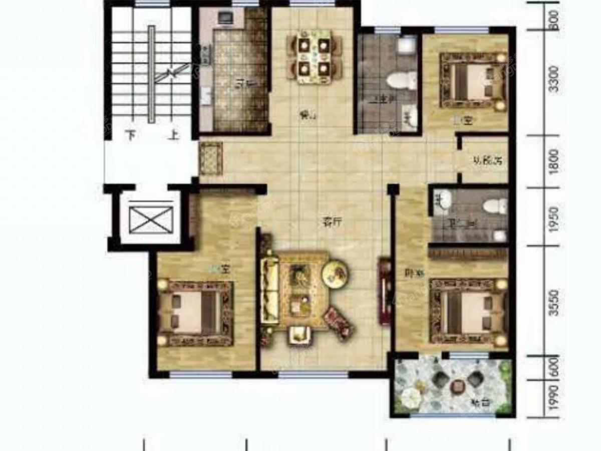温莎溪谷4室2厅2卫户型图