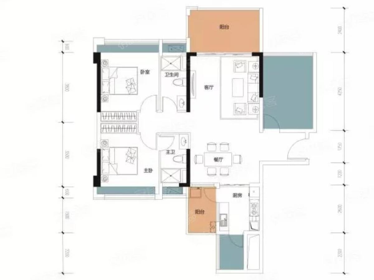 兆兴碧瑞花园二期3室2厅2卫户型图