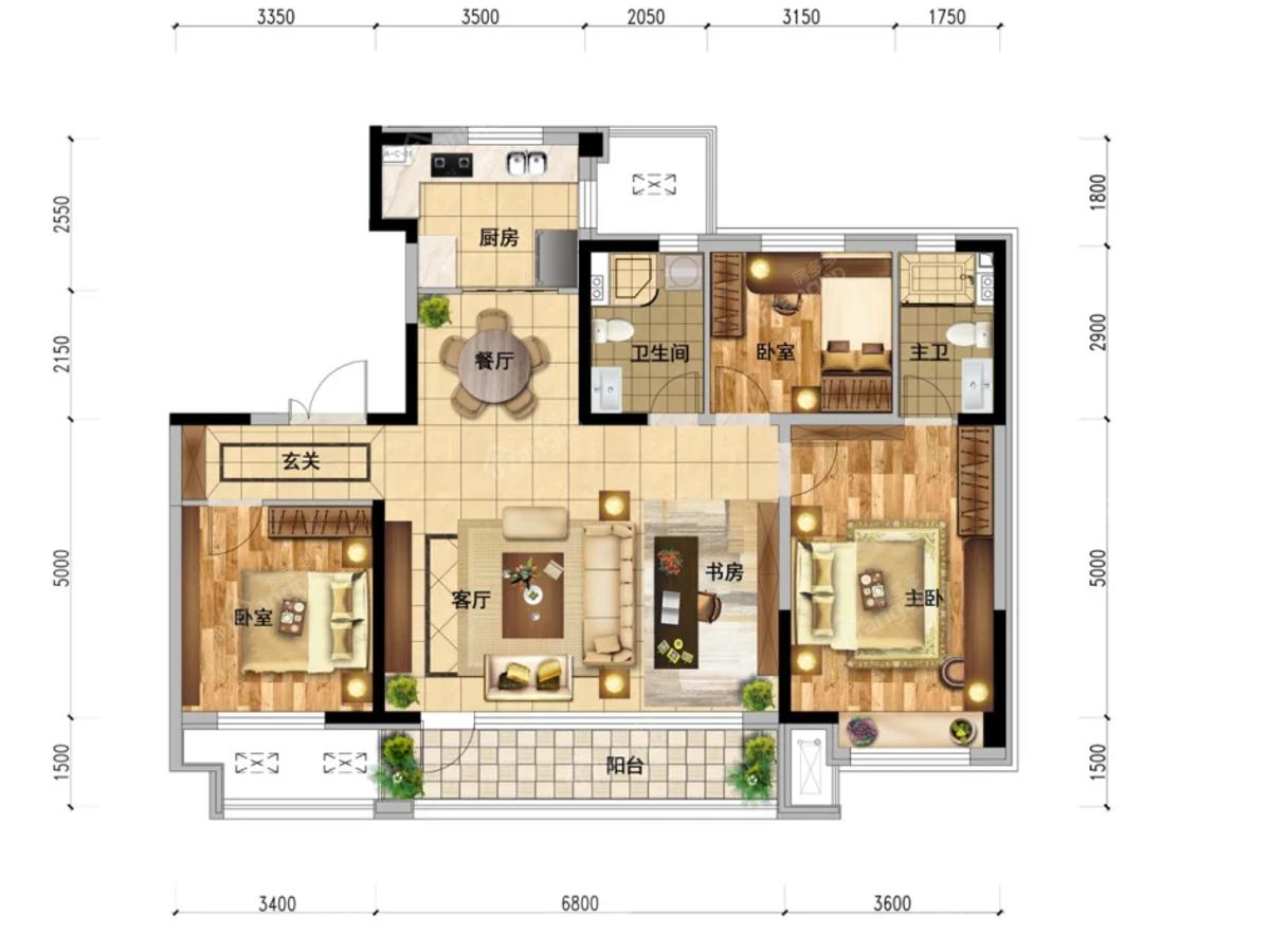 本溪碧桂园·溪山云著4室2厅2卫户型图