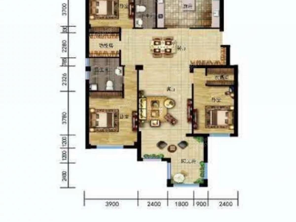 温莎溪谷5室3厅2卫户型图