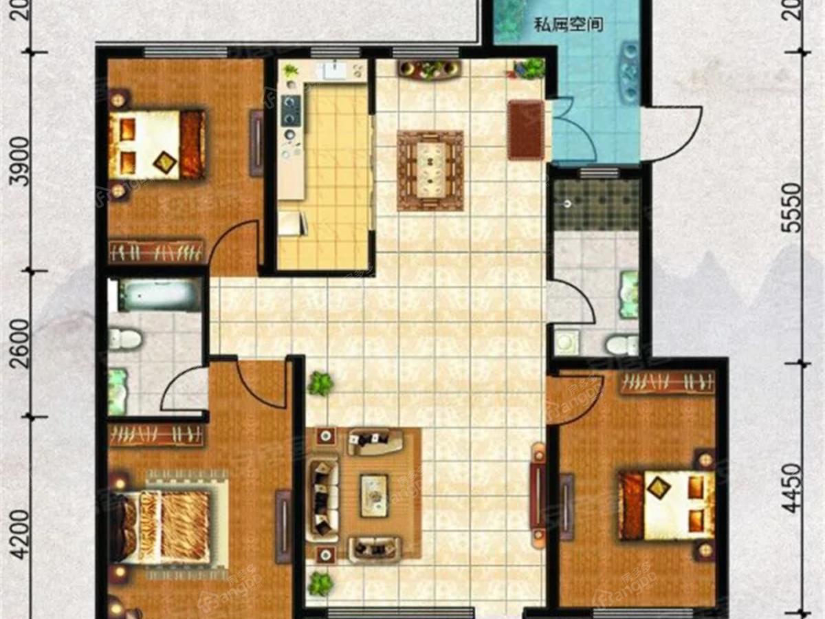 中天·书香庭院3室2厅2卫户型图