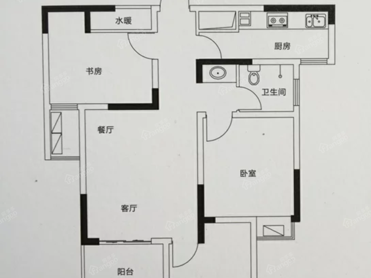 大地时光里3室2厅1卫户型图