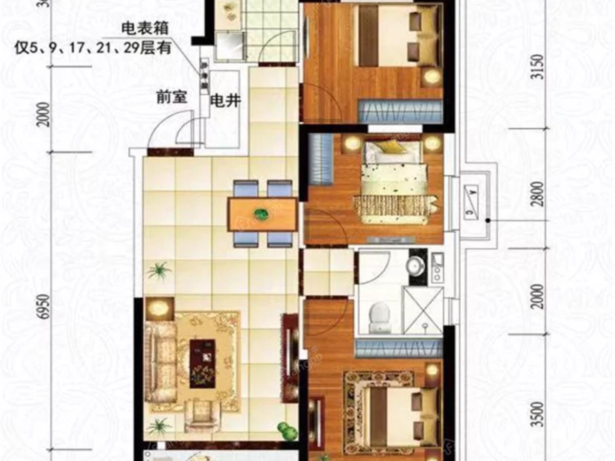 营口恒大城3室2厅1卫户型图