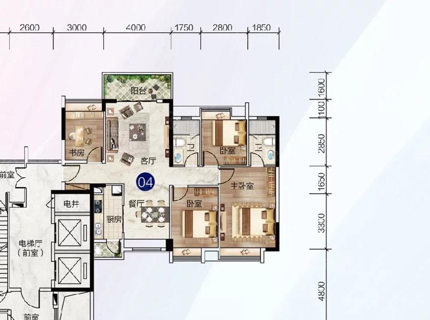 富力中以科技小镇4室2厅2卫户型图