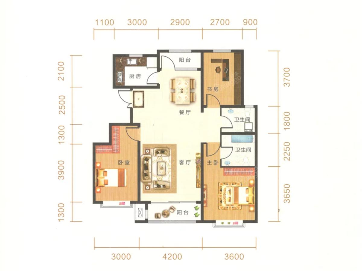 御湖尊邸3室2厅2卫户型图