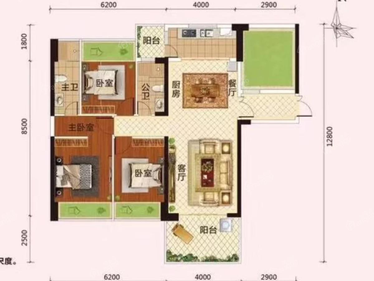 凯旋世家3室2厅2卫户型图