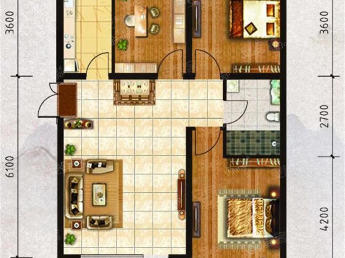中天·书香庭院3室2厅1卫户型图