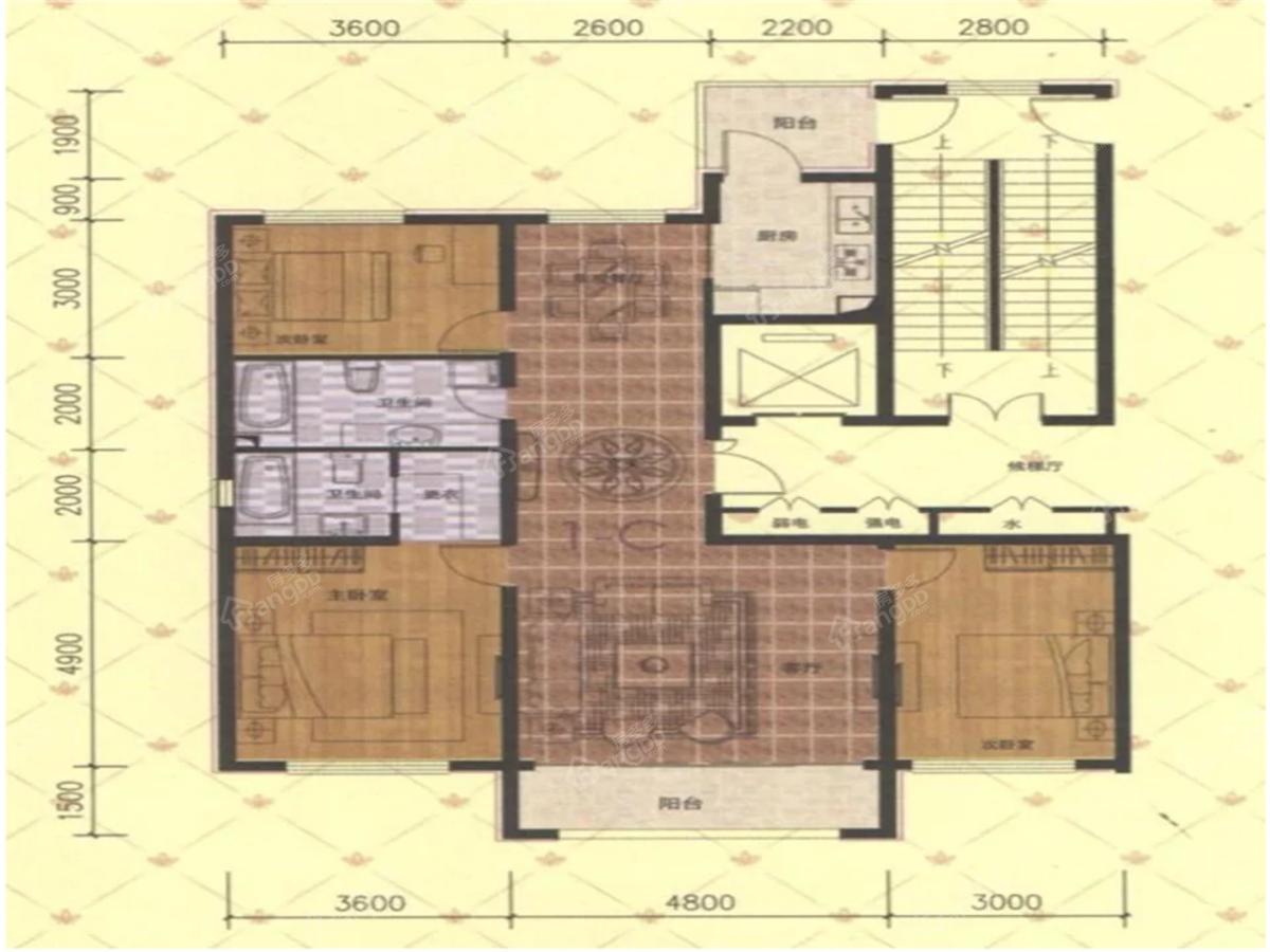 万豪·国际花园3室2厅2卫户型图