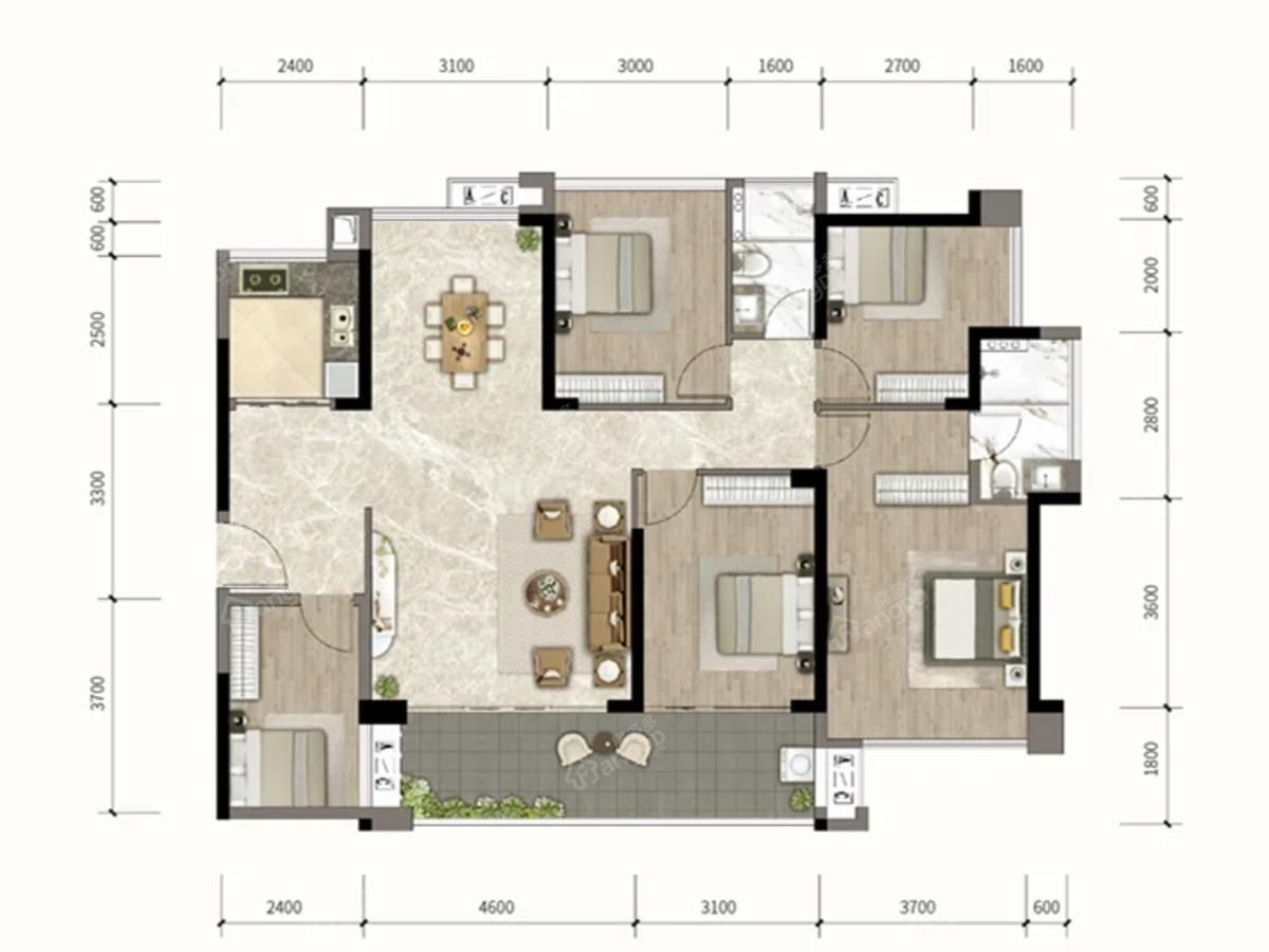 钰海豪庭5室2厅2卫户型图