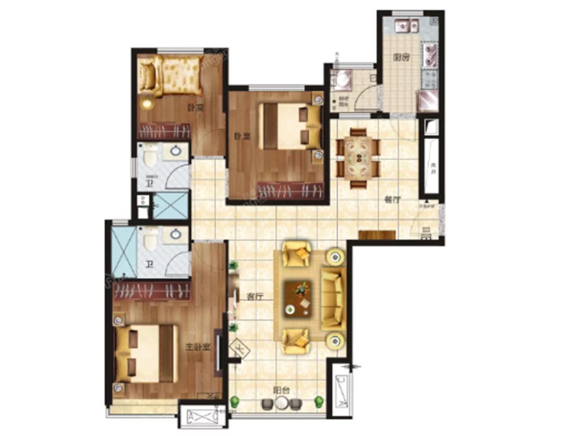 恒大雅苑3室2厅2卫户型图