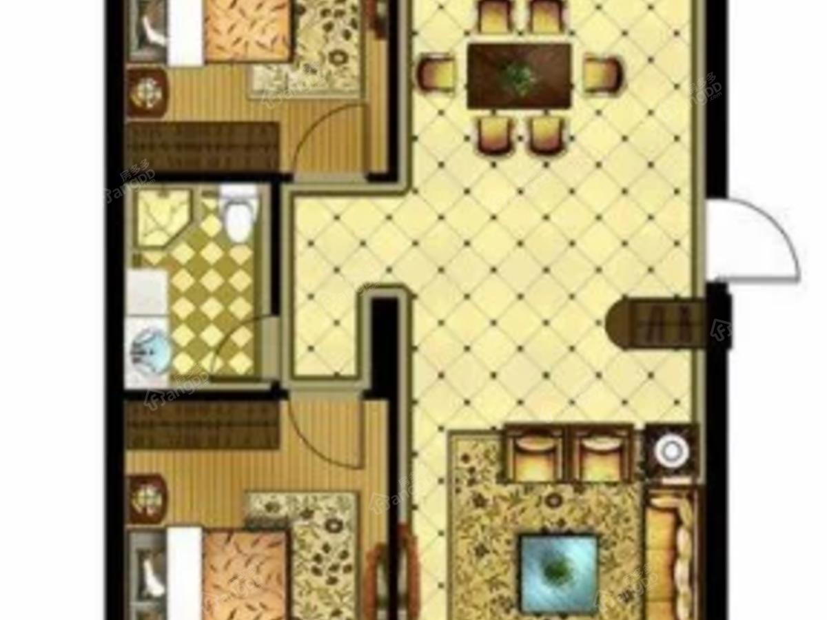 星河国府2室2厅1卫户型图