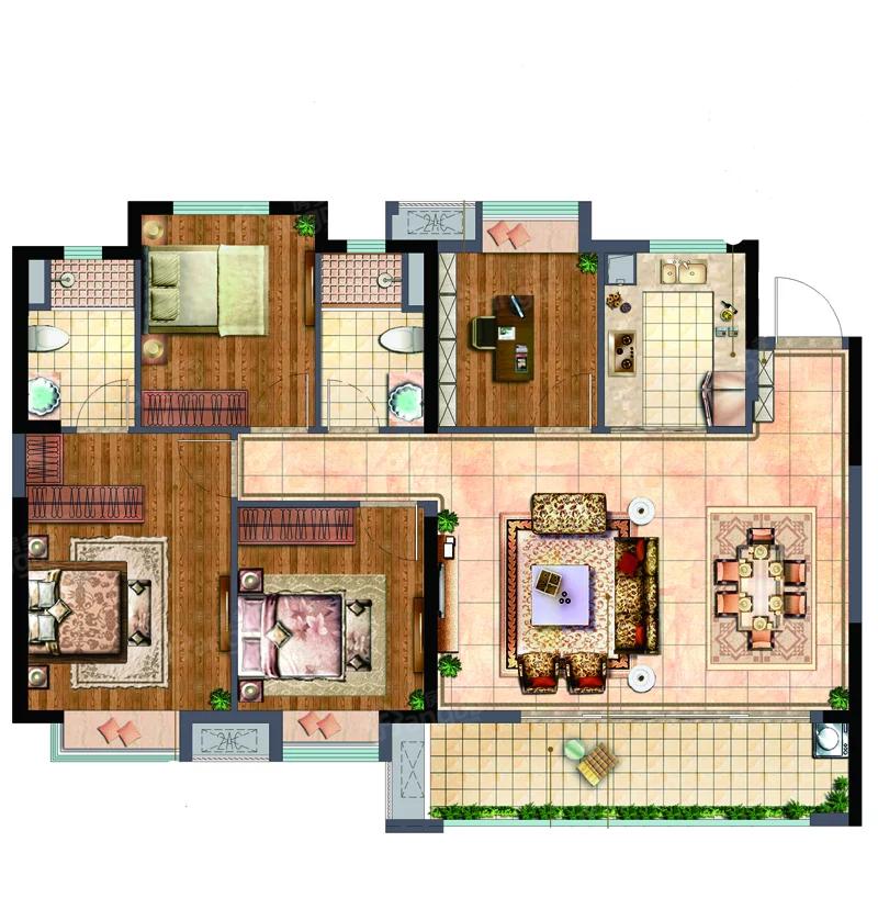 世茂·璀璨悦宸4室2厅2卫户型图