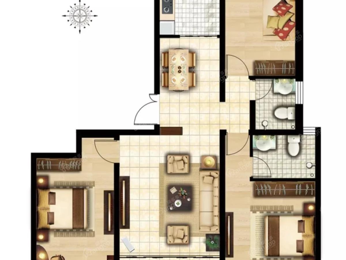 金柱·水城悦府3室2厅2卫户型图