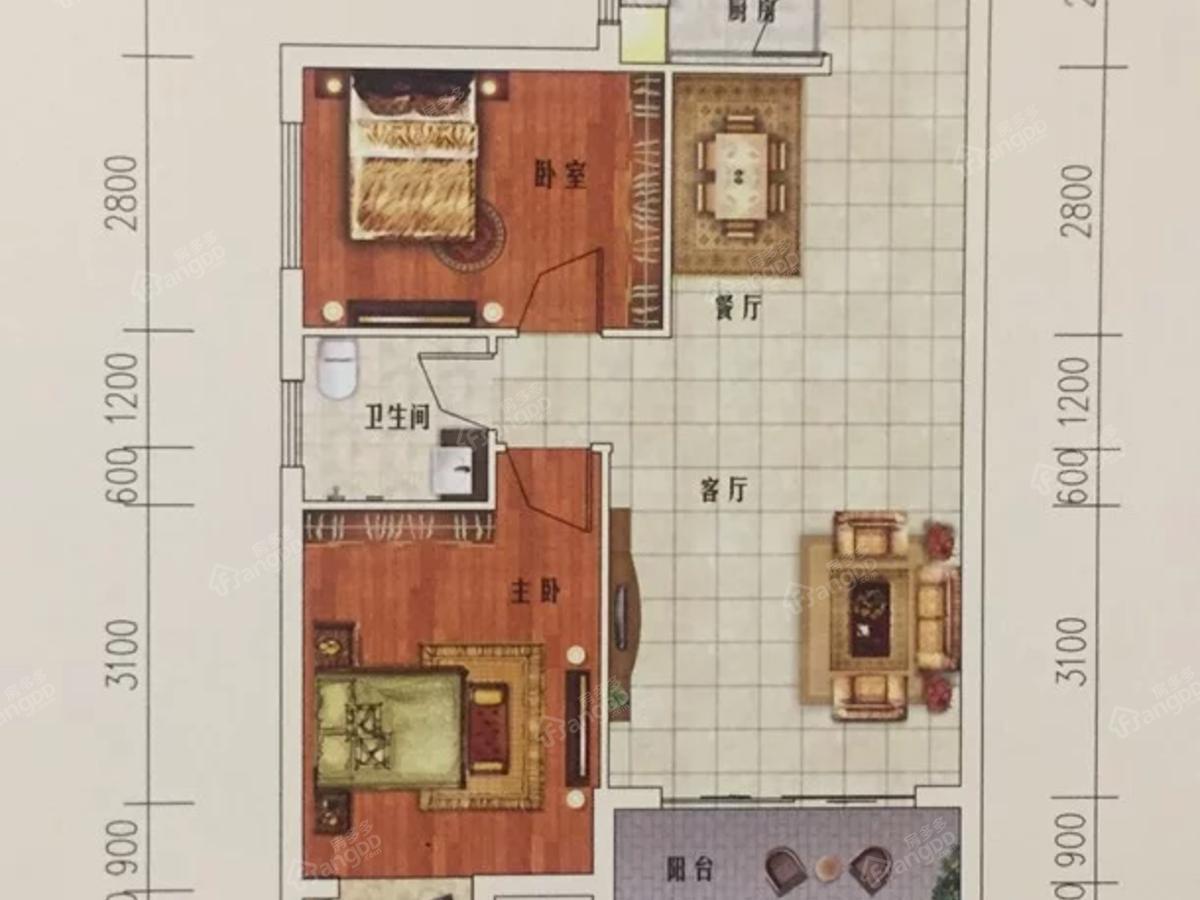 湘荆国际城2室2厅1卫户型图